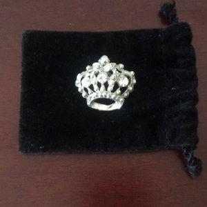 Jeweled Crown Lapel Pin